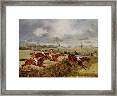 A Steeplechase - Near The Finish Framed Print