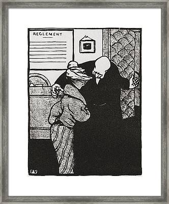 A Worthy Man Ushers A Young Woman Framed Print by Vintage Design Pics