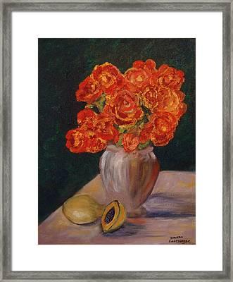 Abstract Red Roses Framed Print by Brenda Goetzinger