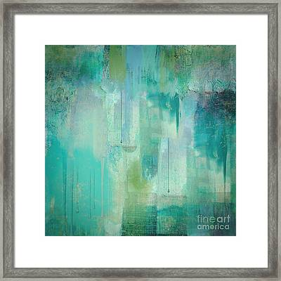 Aqua Circumstance Abstract Framed Print by Mindy Sommers
