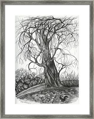 Autumn Dancing Tree Framed Print by Anna  Duyunova