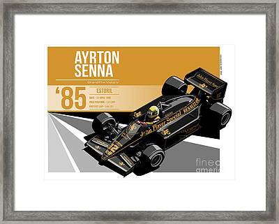 Ayrton Senna - 1985 Estoril Framed Print by Evan DeCiren