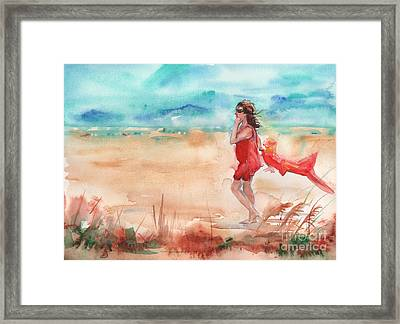 Beach Painting In Watercolor Framed Print by Maria's Watercolor