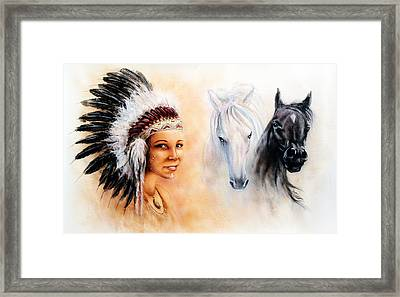 Beautiful  Painting Of A Young Indian Woman Wearing A Gorgeous Feather Headdress  Framed Print by Jozef Klopacka