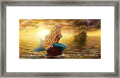 Beautiful Princess Sea Mermaid With Ghost Ship At Sunset Background Framed Print by Alena Lazareva