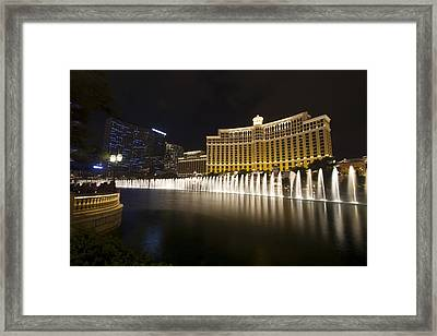 Bellagio Fountain In Las Vegas At Night Framed Print