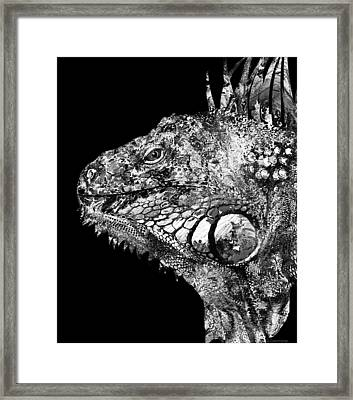 Black And White Iguana Art - One Cool Dude 2 - Sharon Cummings Framed Print by Sharon Cummings