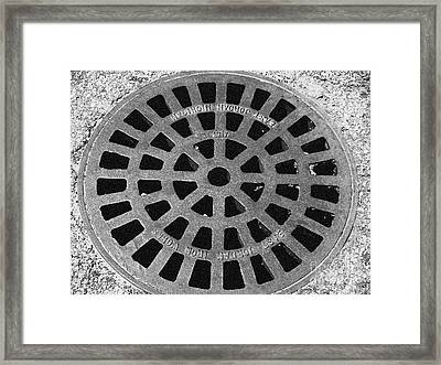 Black And White Manhole Cover Framed Print by Emily Kelley