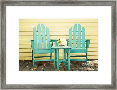 Blue Adirondack Chairs  Framed Print by Juli Scalzi