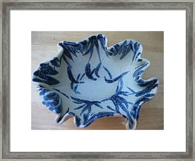 Blue Leafy Bowl Framed Print