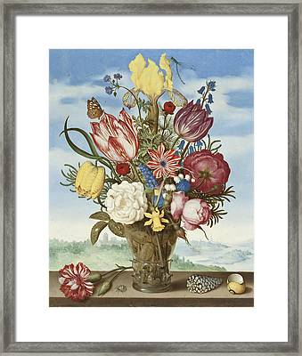 Bouquet Of Flowers On A Ledge Framed Print by Ambrosius the Elder Bosschaert