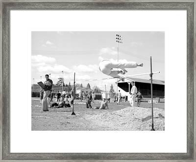 Boy Going Over High Jump Bar 1957 Black White Framed Print by Mark Goebel