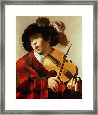 Boy Playing Stringed Instrument And Singing Framed Print