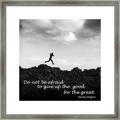 Boy Running With Inspirational Text Framed Print