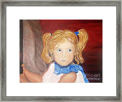 Brends First Merry Go Round Ride Framed Print by Nancy Rucker