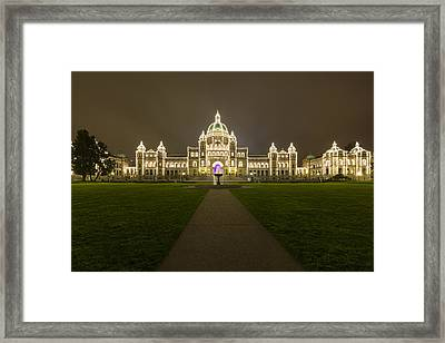 British Columbia Parliament Buildings At Night Framed Print by Mark Kiver