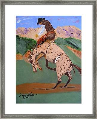 Bronco Rider On A Horse Framed Print