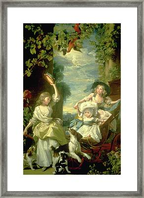 Bucoloic Painting By Honore Fragonard Framed Print by Carl Purcell