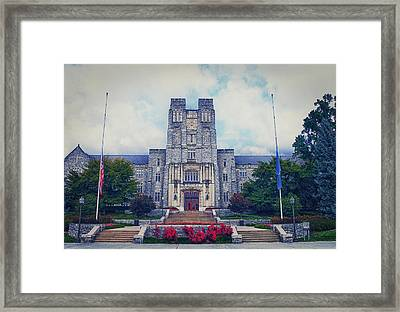 Burruss Hall Framed Print by Kathy Jennings