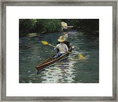 Canoe On The Yerres River Framed Print by Gustave Caillebotte