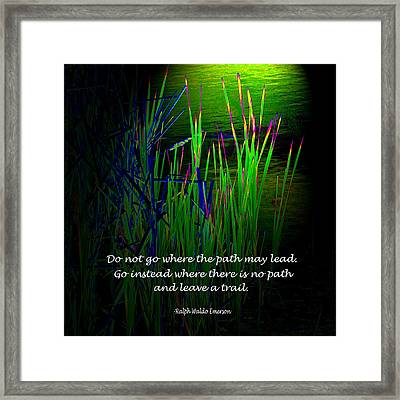 Cattail Reeds With Inspirational Text Framed Print