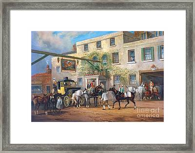 Changing Horses To A Post-chaise Outside The 'george' Posting-house Framed Print by MotionAge Designs