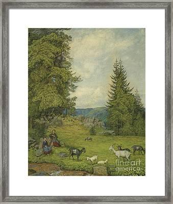 Children With Goat Herd  Framed Print by Celestial Images
