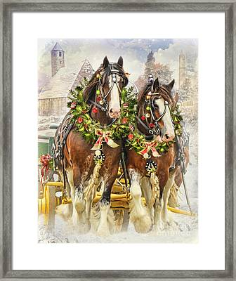 Framed Print featuring the digital art  Christmas Clydesdales by Trudi Simmonds