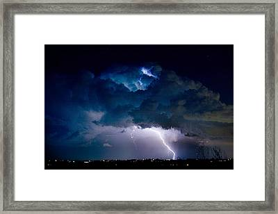 Clouds Of Light Lightning Striking Boulder County Colorado Framed Print by James BO  Insogna
