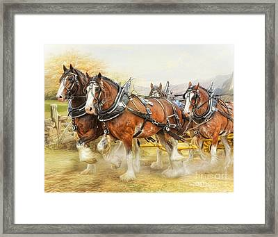 Framed Print featuring the digital art  Clydesdales In Harness by Trudi Simmonds