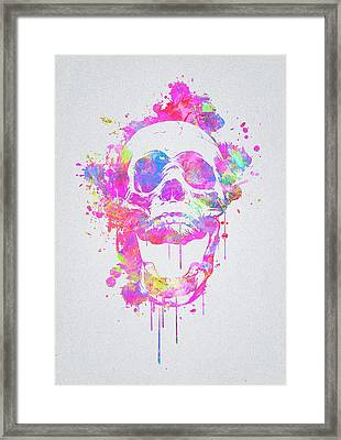 Cool And Trendy Pink Watercolor Skull Framed Print by Philipp Rietz