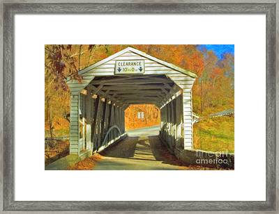 Framed Print featuring the photograph  Covered Bridge Watercolor  by David Zanzinger