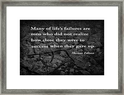 Cracked Mud With Inspirational Text Framed Print