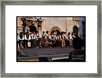 Cultural Dance Group Framed Print by Morris Keyonzo