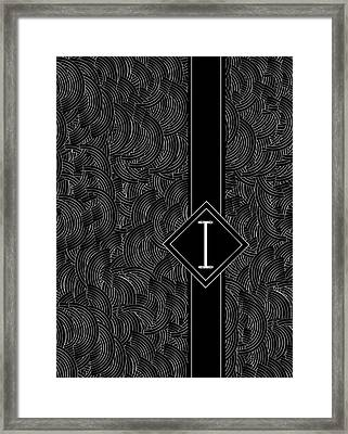 Deco Jazz Swing Monogram ...letter I Framed Print by Cecely Bloom