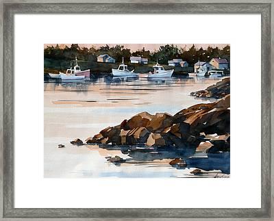 Docked At Dusk Framed Print by Art Scholz