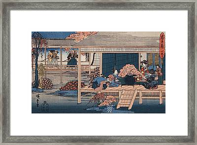 Envoys From The Shogun Approach Lady Kaoyo  Framed Print by Hiroshige