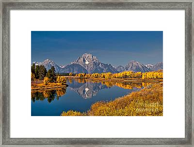 Fall Colors At Oxbow Bend In Grand Teton National Park Framed Print by Sam Antonio Photography