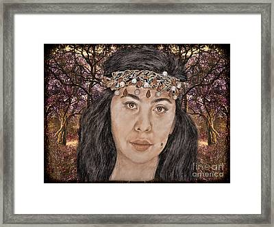 Filipina Model Kaye Anne Toribio In A Mystical Forest. Framed Print