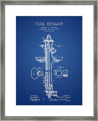 Fire Hydrant Patent From 1876 - Blueprint Framed Print