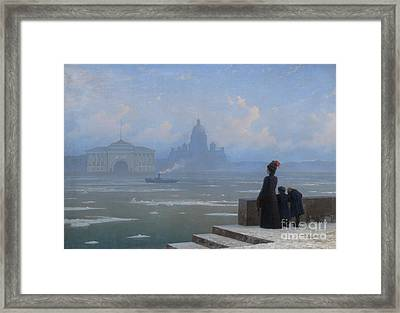 Floating Of Ice On The Neva River Framed Print by Grigory Kalmykov