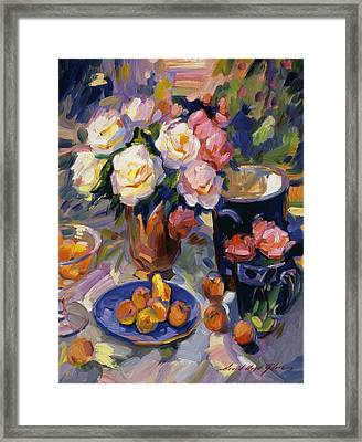 Flowers And Fruit Framed Print by David Lloyd Glover