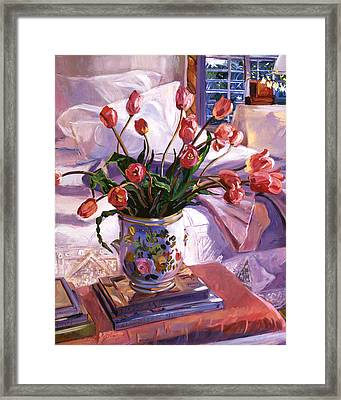 Fresh Tulips Framed Print by David Lloyd Glover