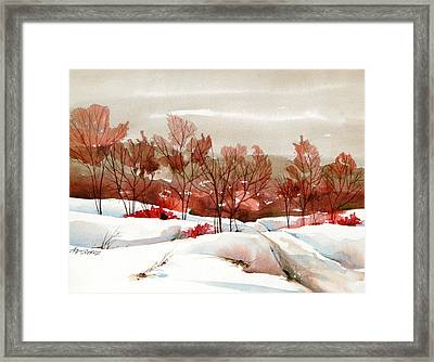 Frosted Red Framed Print by Art Scholz
