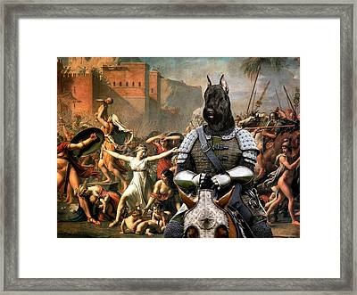 Giant Schnauzer Art Canvas Print - Abduction Of Sabine Women Framed Print by Sandra Sij