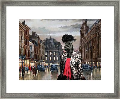 Giant Schnauzer Art Canvas Print - Charleston Blues Framed Print by Sandra Sij