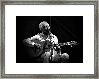 Gilberto Gil   Black And White Framed Print by Jean Francois Gil