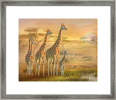 Framed Print featuring the digital art  Giraffe Family by Trudi Simmonds