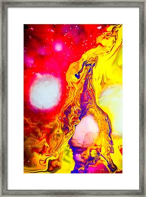 Giraffe In Flames - Abstract Colorful Mixed Media Painting Framed Print by Modern Art Prints