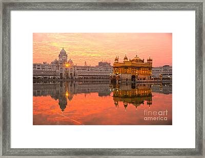 Framed Print featuring the photograph  Golden Temple by Luciano Mortula